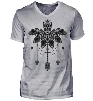 Dotwork Tattoo Skull Mandala 3 - black