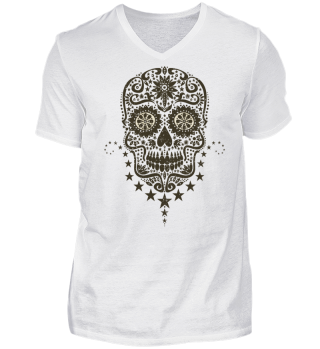 Gothic Stars Sugar Skull - grunge 2 dark