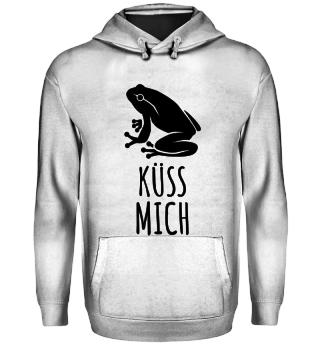 Frosch Küss Mich Hoodie Kaputzenpullie