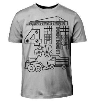 Baustelle Geburtstags-Shirt zum Ausmalen