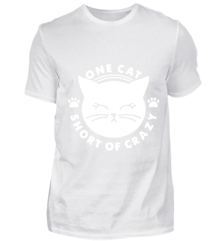 GIFT- ONE CAT SHORT OF CRAZY WHITE