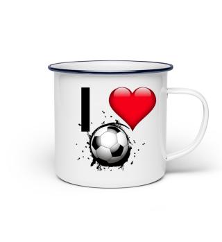 Emailletasse I love Fussball