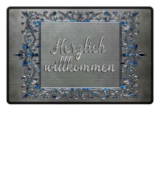 Silver Vintage Frame - willkommen
