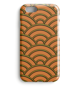 Geometric half-circles waves orange I
