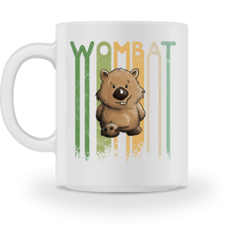 Retro Cartoon Wombat Illustration Tasse