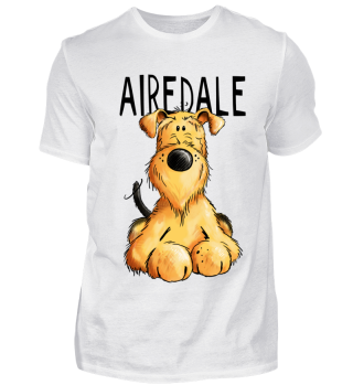 Happy Airedale Terrier Hund I Comic