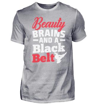 BEAUTY BRAINS A BLACK SPORT T-SHIRT
