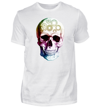 Bunter Zahnrad Totenkopf Shirt
