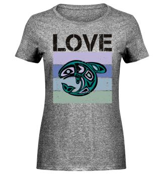 Stripes - LOVE - Ethno Whale - black