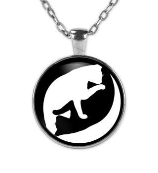 Yin-Yang Yoga Katze Halskette Geschenk