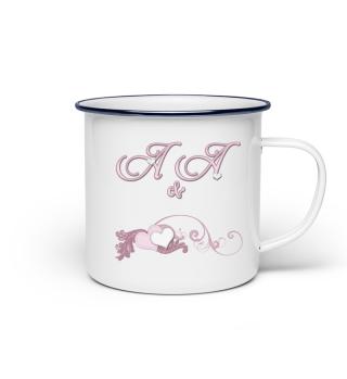 Tasse für Paare Initialen A&A