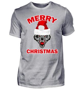 Funny Ugly Christmas Wolf Santa Hat