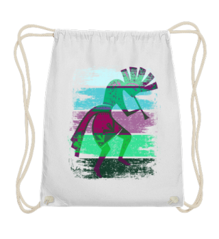 Kokopelli On Stripes Grunge Style II