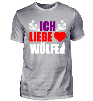 Wolf T-Shirt ich liebe Wölfe