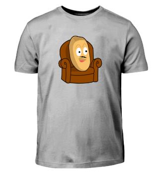 Mr. Kartoffel lustig mit Bart im Sessel!