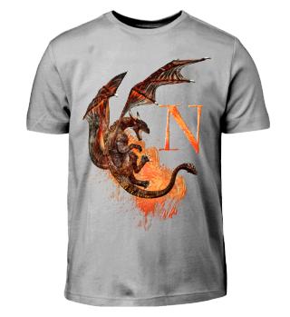 Drachen Buchstabe N (Kinder T-Shirt)