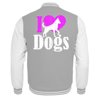 ★ I LOVE DOGS grunge white pink