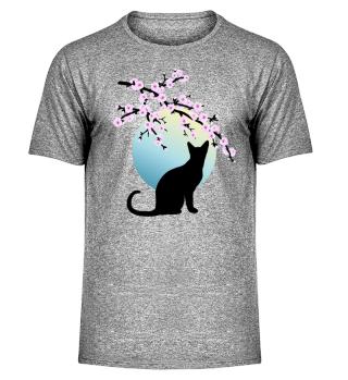 Cherry Blossoms SAKURA Full Moon Cat 1