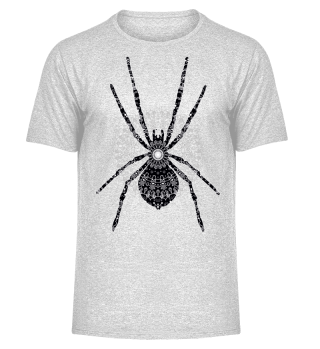 Big SPIDER Mandala black white gray