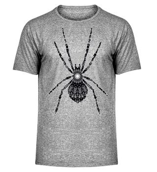 Big SPIDER Mandala black white gray