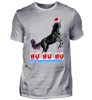 Funny Neon Glow Christmas Horse Santa