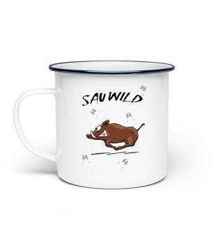Sauwild Wildsau | witzige Wildschwein Tasse