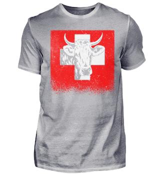Schweiz Schweizerfahne Kuh Patriot Bauer