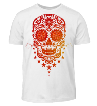 Gothic Stars Sugar Skull grunge 2 red