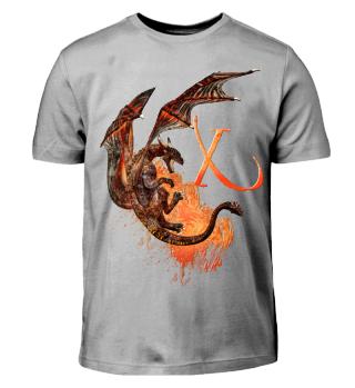 Drachen Buchstabe X (Kinder T-Shirt)