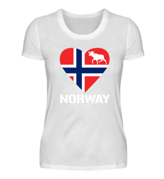 Norway Herz Elch Norwegen Flagge T-Shirt