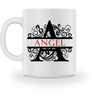 Angel Mug Split Letter Flourish Scrolls