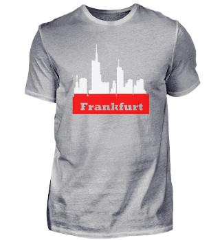 Frankfurt + Skyline in Stadtfarben