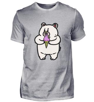 Ein kleiner Teddybär mit Eis