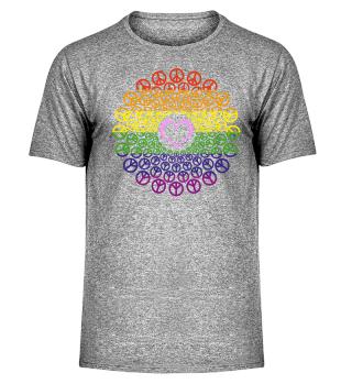 Peace Mandala - Rainbow Flag Heart
