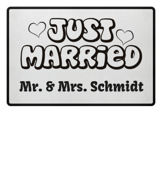 JUST MARRIED - Name schwarz Fussmatte