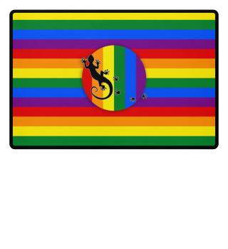 ♥ Gay Pride Rainbow Flag Gecko