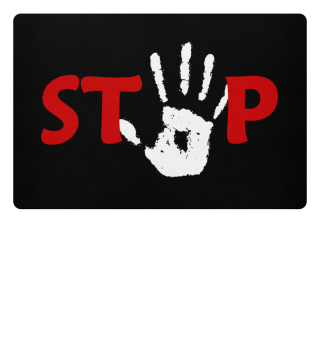 Hand for STOP red black white