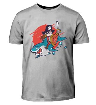 Kids Shirt - Pirate riding shark