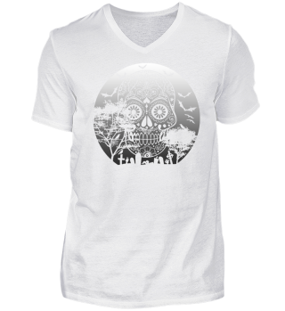 ★ Halloween Sugar Skull Friedhof Mond 1