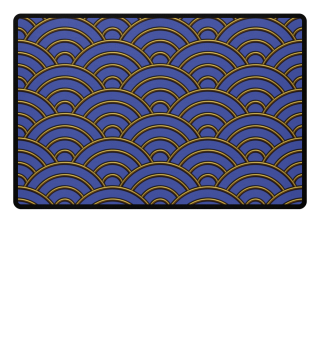 Geometric half-circles waves gold blue