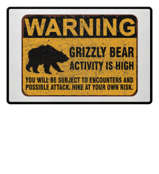 Grizzly Bear Warning Schild Fussmatte