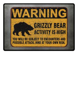 Grizzly Bear Warning Schild Fussmatte
