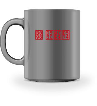 Tasse mit Blockschrift Logo