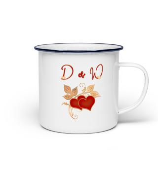 Tasse für Paare Initialen D und W