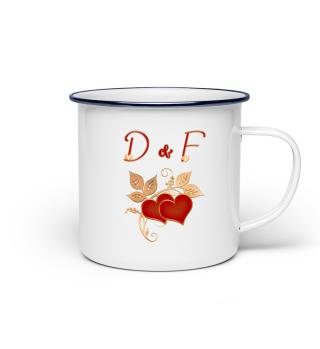 Tasse für Paare Initialen D und F