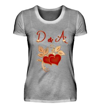 Paarshirt D und A Initialen