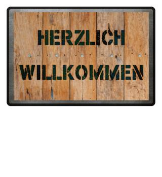 Holzbretter Foto - Herzlich Willkommen