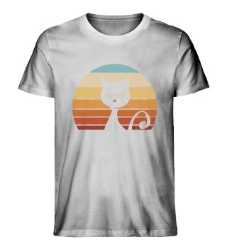 Launische Retro Katze Sunset Moody Cat
