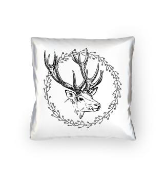 Winter Wreath with Deer - black