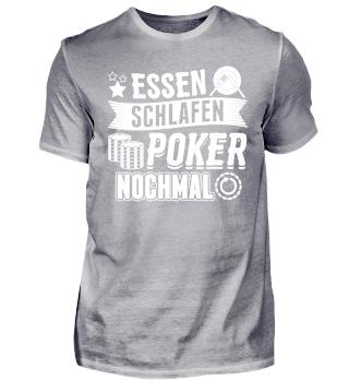 Lustiges Poker Shirt Essen Schlafen